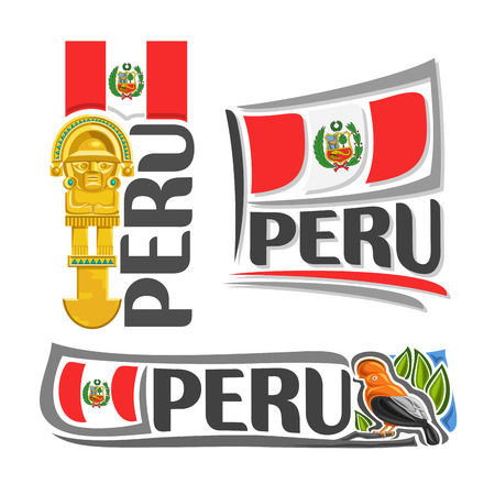 ceremonial: Peru illustrations: inka tumi ceremonial knife, ritual golden axe on background of national state flag