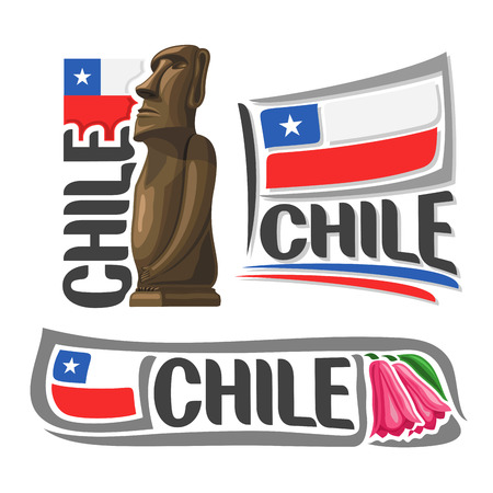 moai: Chile illustrations: Moai stone statue head on Easter Island on background of national state flag