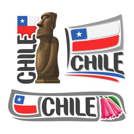 moai: ilustraciones Chile: Moai estatua cabeza de piedra en la isla de Pascua en el fondo de la bandera del estado nacional Vectores