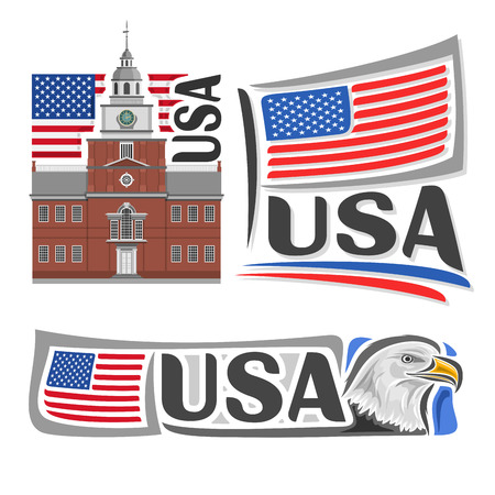 star spangled: USA illustrations: Independence Hall in Philadelphia on background of american national state flag