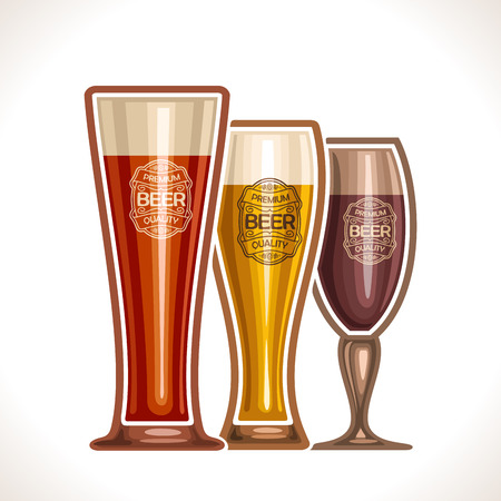Glass cups of beer