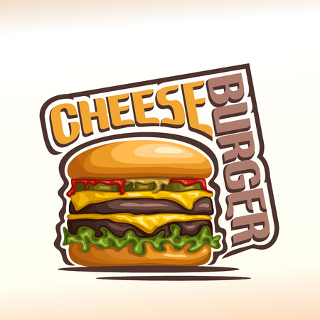 cheddar: Vector logo cheeseburger, consisting of cut bun, meat beef hamburger grilled patty, pickle cucumber, slice cheese cheddar, leaf lettuce salad, ketchup. Cheeseburger menu for american fast food cafe