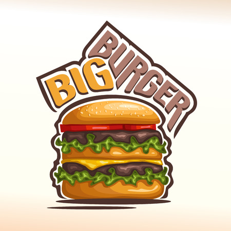 sesame seeds: Vector logo big burger, consisting of bun with sesame seeds, meat veal beef hamburger grilled patty, slice cheese cheddar, tomato slices, leaf lettuce salad. Double Burger menu american fast food cafe