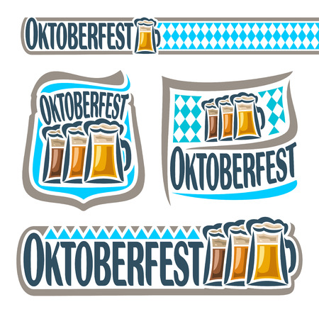 pint: Vector logo bavarian pattern flag oktoberfest with glass ale. Emblem Bavarian fest in Munich with alcohol drink. Banner Oktoberfest mug beer cup with porter. Header menu: foam pint beer, blue rhombus