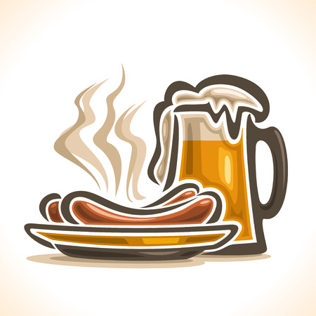 pilsner beer glass: Vector logo for beer, consisting of isolated glass cup, filled to the brim light lager pilsner beer with foam on a white background and yellow dish plate with 2 hot beef sausage frankfurters