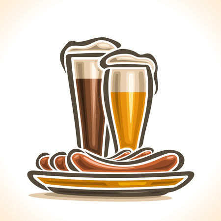 porter: Vector logo for Beer and Sausages, consisting of glass cups, filled to the brim light lager beer, dark porter ale with foam on white background, yellow dish plate with 3 hot beef sausage frankfurters