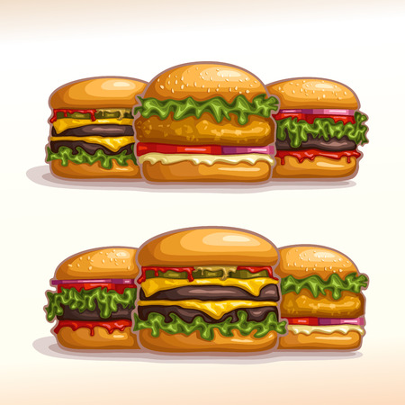 Vector logo set burgers for showcase display: hamburger, cheeseburger, chickenburger homemade. Bun sesame, beef grilled patty, leaf lettuce salad. Big Burger menu for american fast food cafe takeaway