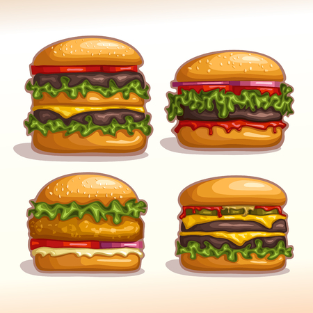 Vector logo set isolated burgers: hamburger, cheeseburger, chickenburger homemade. Bun sesame, meat beef grilled patty steak, leaf lettuce salad. Big Burger menu for american fast food cafe takeaway