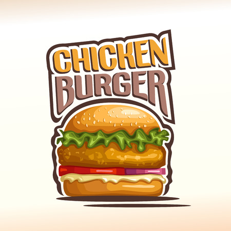 patty: Vector logo chickenburger, consisting of a bun with sesame seeds, meat chicken hamburger fried patty, red onion, tomato slices, leaf lettuce salad, mayonnaise. Burger menu for american fast food cafe