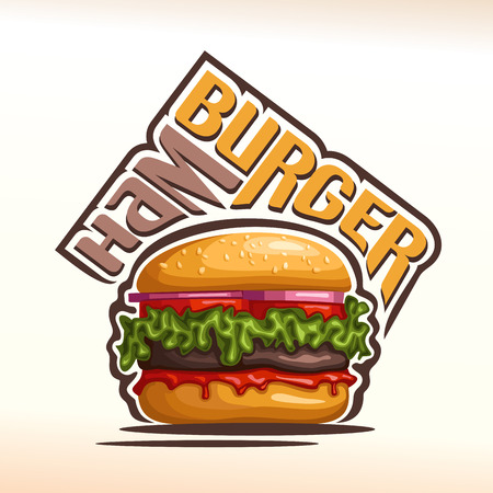 sesame seeds: Vector logo for Hamburger, consisting of a bun with sesame seeds, meat veal beef hamburger grilled patty, red onion, tomato slices, leaf lettuce salad, ketchup. Burger menu for american fast food cafe Illustration