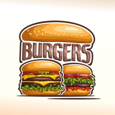 leaf lettuce: Vector logo double burgers, cut bun sesame, meat beef hamburger grilled patty, pickle, slice cheese cheddar, leaf lettuce salad, tomato ketchup. Big Burger menu for american fast food cafe takeaway Illustration