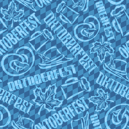 tyrolean: Vector background bavarian seamless pattern flag oktoberfest. On Background blue rhombus diamond wallpaper - symbols Oktoberfest: mug beer, pretzel, tyrolean hat, maple leaf. Textile tablecloth Bayern