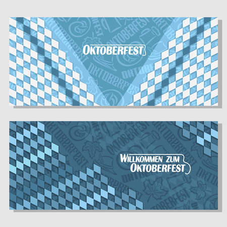 tyrolean: Vector horizontal banners bavarian pattern flag oktoberfest. On Background blue rhombus diamond ticket invitation - symbols Oktoberfest: mug beer, pretzel, tyrolean hat, maple leaf. Flyer Bayern fest