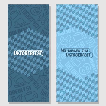 willkommen: Vector vertical banners bavarian pattern flag oktoberfest. On Background blue rhombus diamond ticket invitation - symbols Oktoberfest: mug beer, pretzel, tyrolean hat, maple leaf. Flyer bavaria fest
