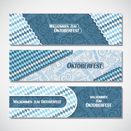 willkommen: Vector horizontal banners bavarian pattern flag oktoberfest. On Background blue rhombus ticket invitation - symbols Oktoberfest: mug beer, pretzel, hat, leaf. Flyer bavaria fest, web panoramic header