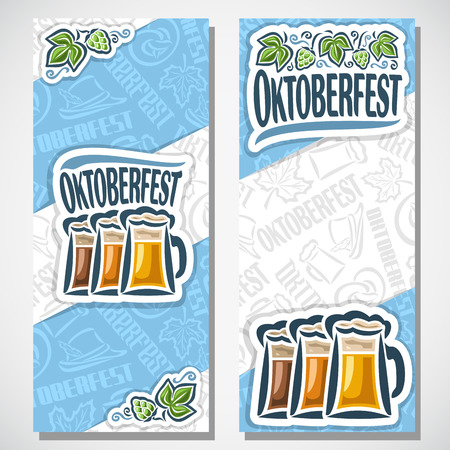 tyrolean: Vector vertical banners bavarian oktoberfest for text. Ticket invitation for Munich festival. Glass mugs beer on background symbols Oktoberfest: pretzel, tyrolean hat, hops leaf. Flyer bavaria fest Illustration