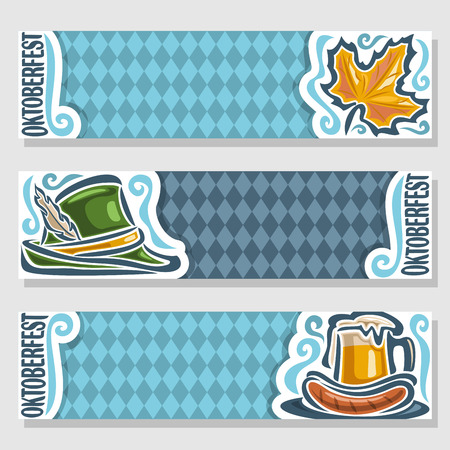 pint: Vector logo ticket invitation for oktoberfest, 3 isolated flat horizontal banners: pint beer mug, cup; grill sausages. Bavarian Oktoberfest pattern flag, blue rhombus. Tyrolean hat, autumn maple leaf Illustration
