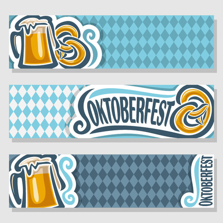 Vector logo ticket invitation for oktoberfest, 3 isolated flat horizontal banners: pint beer mug lager pretzel. Bavarian Oktoberfest pattern flag white blue rhombus. Beer cup alcohol drink with Pretzel