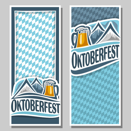 pint: Vector ticket invitation oktoberfest, 2 isolated flat vertical banner: pint beer mug lager, Alps mountains. Bavarian Oktoberfest pattern flag white blue rhombus. Beer cup alcohol drink, alps mountain