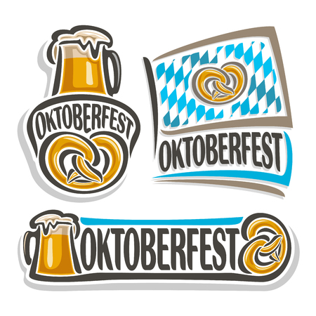 pint: Vector logo oktoberfest, 3 isolated illustrations, pint beer mug with lager and pretzel on white background. Bavarian Oktoberfest pattern flag white blue rhombus, beer mug alcohol drink with pretzel Illustration