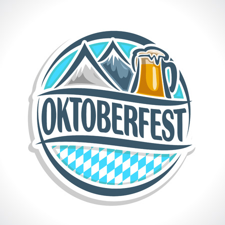 pint: Vector logo emblem or sign for beer coaster oktoberfest, isolated illustrations: pint beer mug lager, Alps mountains. Bavarian Oktoberfest pattern flag. Beer cup alcohol drink with alps mountain