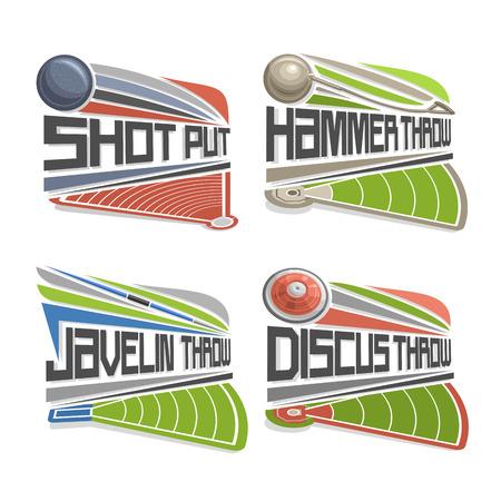 lanzamiento de disco: Vector de la insignia de atletismo, que consiste en el lanzamiento de disco abstracto, lanzamiento de peso, lanzamiento de martillo, jabalina. equipos de vía y el estadio de campo para el Campeonato atletica arena juegos de verano