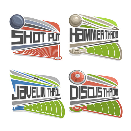 discus: Vector logo for Athletics Field, consisting of abstract discus throw, shot put, throwing hammer, javelin. Track and field stadium equipment for atletica championship summer games arena