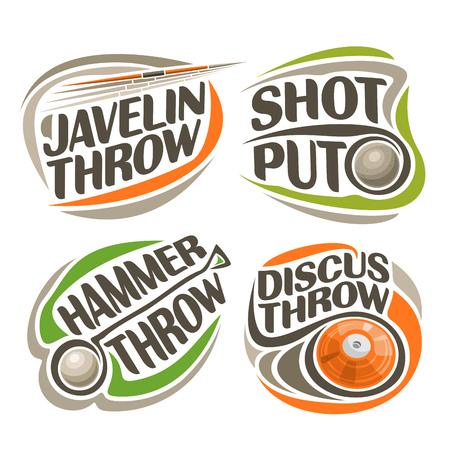 lanzamiento de disco: Vector de la insignia para el equipo de atletismo, que consiste en el lanzamiento de disco de metal abstracta, lanzamiento de peso, lanzamiento de martillo, jabalina. equipos de pista y campo para los juegos de verano de campeonato atletica Vectores