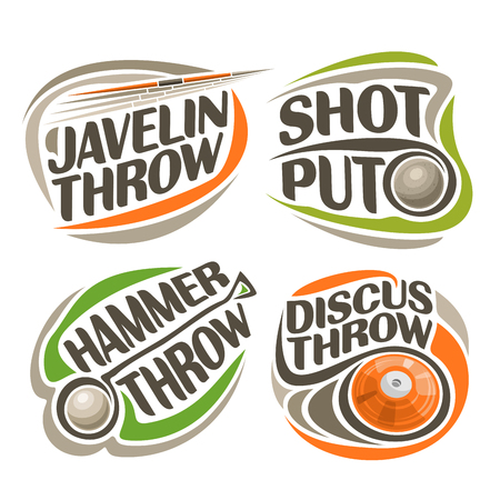 shot put: Vector logo for athletics equipment, consisting of abstract metal discus throw, shot put, throwing hammer, javelin. Track and field equipment for atletica championship summer games Illustration