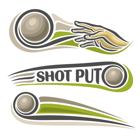 Vector logo for athletics shot put, consisting of arm, hand throw sphere flying on trajectory, 3 sports metal throwing balls. Track and field equipment for summer games. Flying Shot Put
