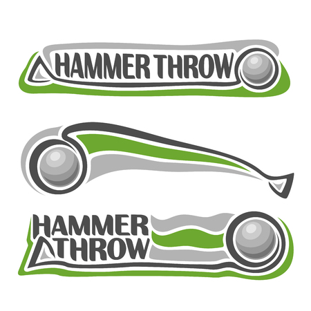 fling: Vector logo for athletics hammer throw, consisting of stick sphere flying on trajectory, 3 sports metal throwing balls. Track and field equipment for summer games. Flying Hammer Throw