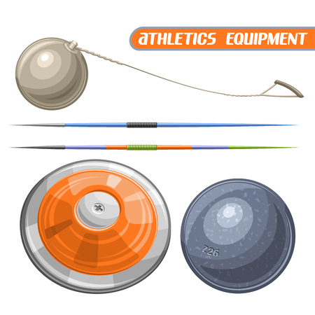 javelin: Vector logo for athletics equipment, consisting of abstract metal discus throw, shot put, throwing hammer, javelin. Track and field equipment for atletica championship summer games Illustration