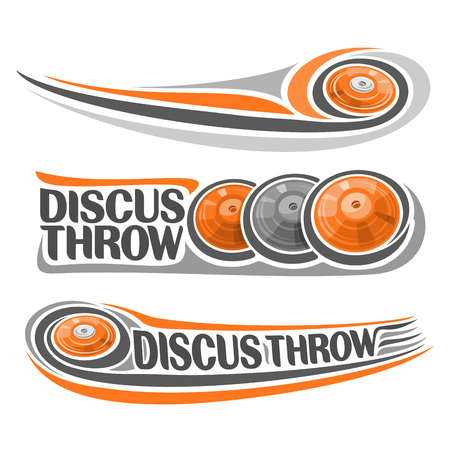 trajectory: Vector logo for athletics discus throw, consisting of disc flying on trajectory, 3 sports gray orange throwing discs. Track and field equipment for the summer games. Flying Discus Throw