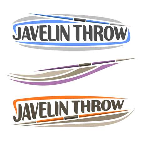 trajectory: Vector logo for athletics javelin throw, consisting of spear flying on trajectory, 3 sports throwing lance. Track and field equipment for championship summer games. Flying Javelin Throw