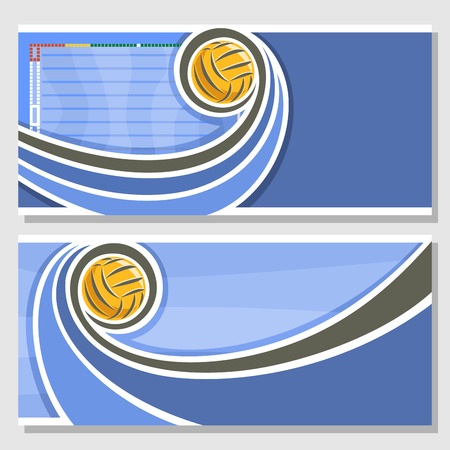 waterpolo: Vector abstract logo for Water Polo Ball, blue horizontal banners for text info title with swimming pool liquid waves and waterpolo equipment yellow water polo ball. Invitation ticket to sports arena