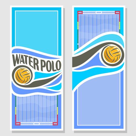 waterpolo: Vector abstract logo for Water Polo Ball, blue vertical banners for text info title with swimming pool liquid waves and waterpolo equipment yellow water polo ball. Invitation ticket to sports arena