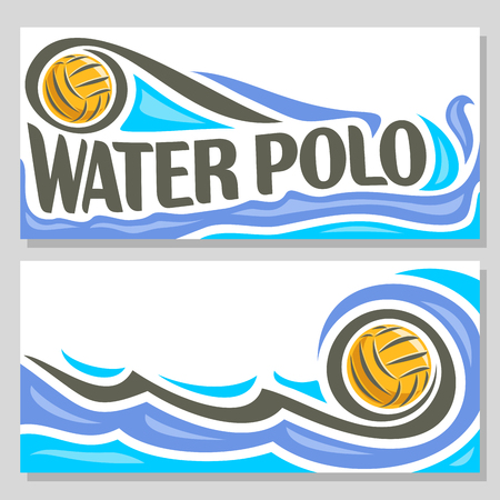waterpolo: Vector abstract logo for Water Polo Ball, blue header horizontal banners with background summer sea waves and waterpolo equipment floating yellow water polo ball. Invitation ticket to sports arena.