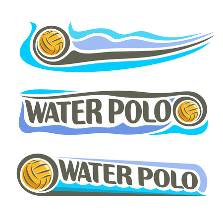 Vector abstract logo for Water Polo Ball, blue header horizontal banners with background summer sea waves and waterpolo equipment floating yellow water polo ball. Swimming recreation sport leisure.