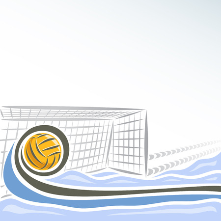 trajectory: Vector abstract logo for Water Polo for text info title, consisting of swimming pool water sports arena with blue waves and waterpolo equipment yellow polo ball flying on trajectory in net gate goal. Illustration