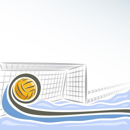 Vector abstracte logo voor Waterpolo voor tekst info titel, bestaande uit zwembadwater sportarena met blauwe golven en waterpolo apparatuur gele polo bal vliegt op traject in de netto poort doel.