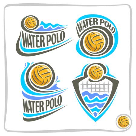 수구 공, 스포츠 클럽, 배경 여름 파도에 떠있는 노란색 수구 공, 수구 장비, 디자인 개념 휘장 문장 장식 상징 기호 벡터 추상적 인 로고 아이콘입니다. 스톡 콘텐츠 - 61204985