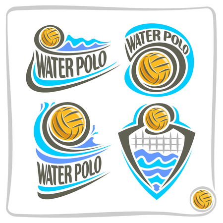 Vector abstract logo icon for Water Polo Ball, decoration emblem sign for sports club, yellow water polo ball floating on background summer waves, waterpolo equipment, design concept insignia blazon.
