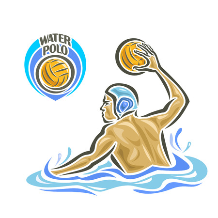 splash pool: Vector abstract logo for Water Polo, player throw Ball in goal, attacking swimmer shot yellow polo ball in gate, sportsman in pool with blue water waves and splash gives pass, waterpolo equipment.