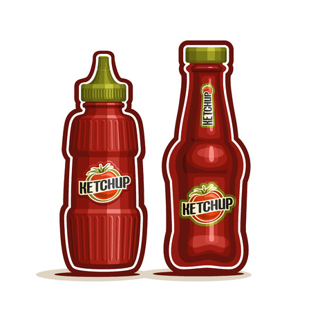 squirt: Vector logo Tomato Ketchup Bottle, red plastic squeeze jar squirt, glass cartoon container dispenser catsup paste, tomato ketchup bottle for kitchen american cafe bistro fast food on white background. Illustration