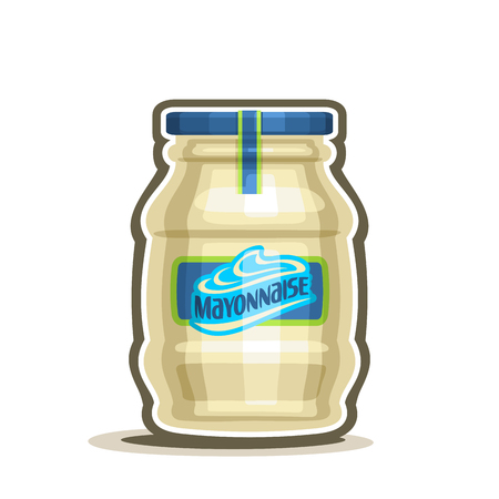 Vector logo Big Jar Mayonnaise, conserved container with white pale mayo with blue cap and label, glass pot with provencal sauce close-up on white background, jar mayonnaise french cuisine for salad. Illustration