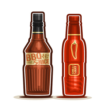 chili sauce: Vector logo BBQ and Chilli Sauce Bottles, container with red barbecue sauce with black cap, glass bottle with chili dressing isolated on white background, jar pepper ketchup mexican cuisine for picnic