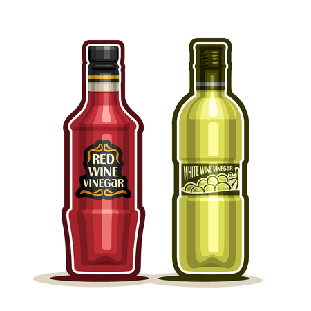 acetic: Red and White Wine Vinegar Bottles, container grape acetum with plastic cap, glass bottle natural wine vinegar with label, isolated on white background, acetic liquid for vegetable salad.