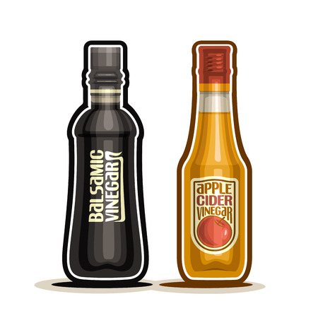 Balsamic and Apple Cider Vinegar Bottles, container dark balsamico acetum with plastic cap, glass bottle fruit apple vinegar with label isolated on white background, acetic liquid for salad Illustration