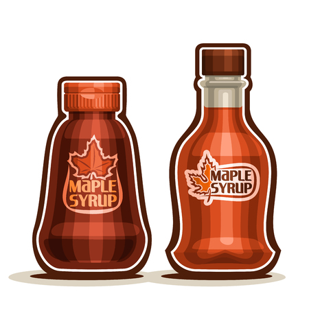 Maple Syrup Bottles, jar sweet maple nectar with plastic cap, souvenir glass bottle canadian syrup with leaf on label, isolated on white background, vermont liquid dessert for breakfast.