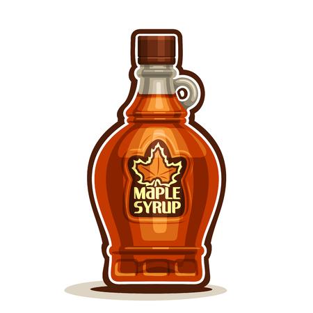 Arce botella de jarabe, vinagrera de dibujos animados dulce néctar de arce con gorra, botella de vidrio de recuerdos jarabe canadiense con la hoja en la etiqueta, aislado en fondo blanco, Vermont postre casero para el desayuno Ilustración de vector